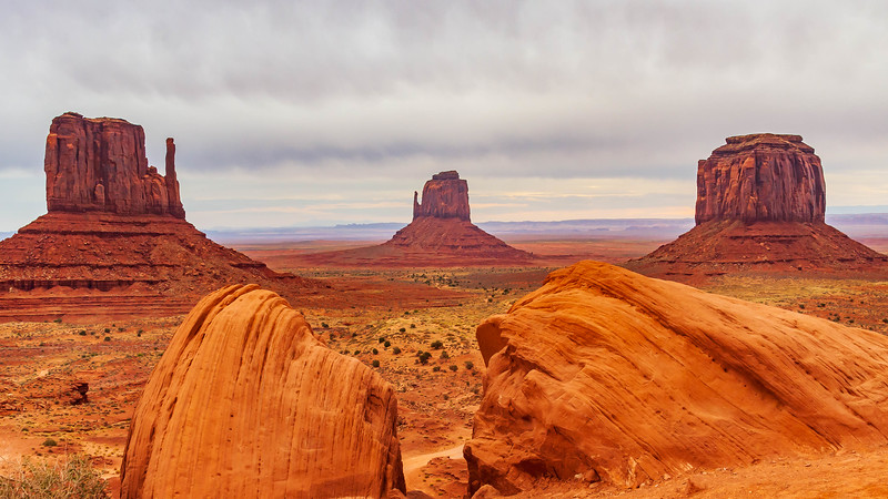 Arizona-Monument Valley-The Mittens and Merrick Butte