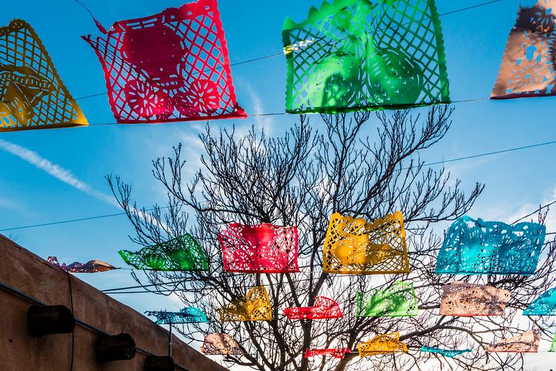 NM-ALBUQUERQUE-OLD TOWN-PRAYER FLAGS