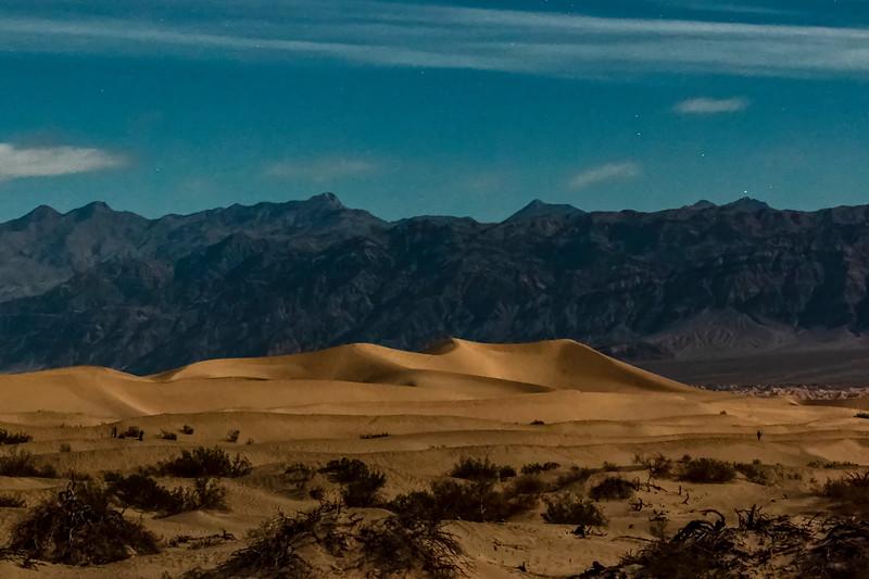 California-Death Valley National Park-Mesauite Flat Sand Dunes under a full moon