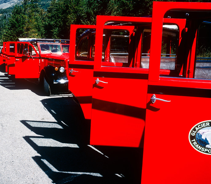 Red Buses, Glacier National Park, 1996