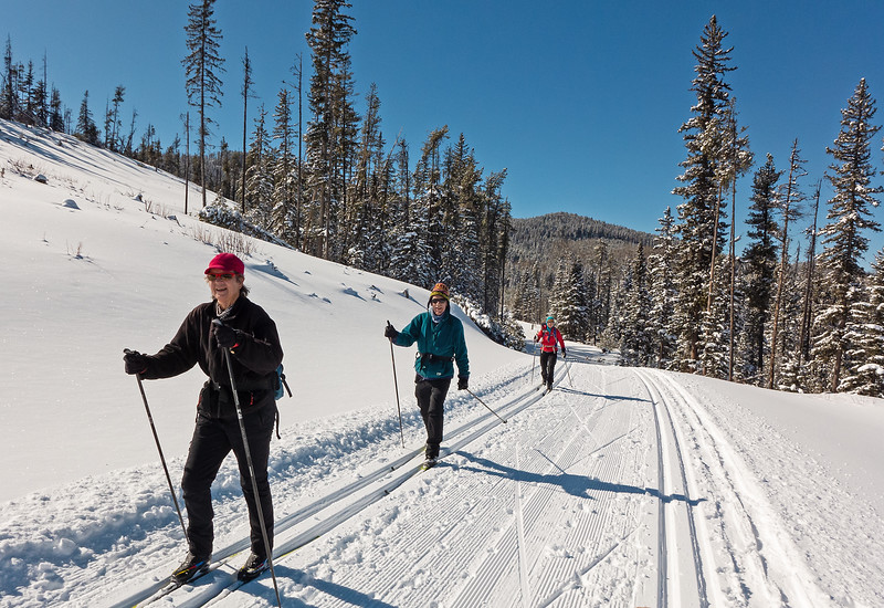 Excellent skiing on Mountainview West, with Ena, John, Jo (and Piper!)