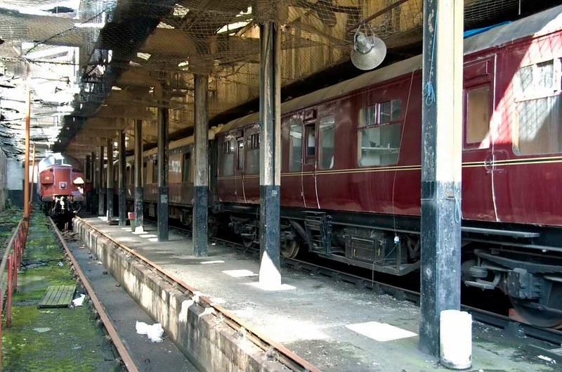 37108, LNER No 23896, Pullman No 278 Bertha & LMS 45028 (right), Carnforth Steamtown, 26 July 2008.  The barely visible LNER coach next to the 37 is a corridor third built by Birmingham Rly Carriage & Wagon in 1935.  It had moved to the North Yorkshire Moors Railway by 2010.  Pullman Bertha was built by Metropolitan Carriage & Wagon in 1932. It was reported still at Carnforth in 2017.  LMS 45028 is a district engineer's saloon built at Wolverton in 1942.  It had moved to the Foxfield Railway by 2014.