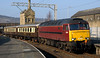 57601 & 47854, Carnforth, Sun 20 March 2005 - 1532 1.  Arriving with the stock off the previous day's Railtourer / Green Express Settle Carlisle Scenic Land Cruise from Sandy to Carlisle via Settle both ways.  The consist was 99674, 99673, 99679, 99671, 99672, 99677, 3143, 99371, 3136, 1861, 5035 & 4960.