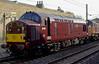 47854 & 37197, 0Z37, Carnforth, Mon 25 April 2005 - 1745.  The pair return from Bo'ness aftterr a short stint on the Royal Scotsman.  37197 had just been painted maroon, but not 47854.