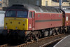 57601 & 47854, Carnforth, Sun 20 March 2005 - 1532 2.  The former Virgin 47 initially received the same livery as 57601, but was repainted into Royal Scotsman maroon in July.