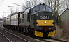 37261, Carnforth, Mon 7 March 2005 - 1620.   The loco arrives from Tyseley.  It is still showing the same headcode as in December, but has acquired snowplopughs.