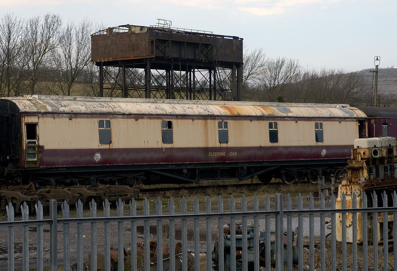 LMS pattern first class sleeping car M395, Carnforth, Wed 15 February 2006.  Built at Wolverton in 1951, and still at Carnforth in 2012.