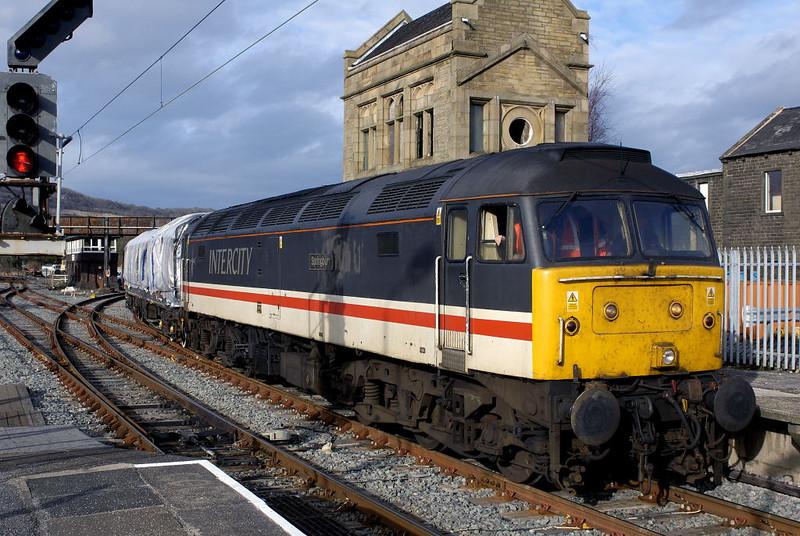 47826 Springburn, Carnforth, Thurs 16 February 2006 - 1427.  A NRM - Steamtown move with Pullman car Emerald and 47798.