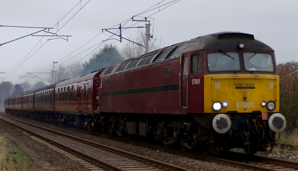 57601, 5Z32, Carnforth, Fri 19 January 2007 - 1245.  57601 leaves Carnforth for Bletchley with ECS for Past Time Rail's South Yorkeshireman tour on the 20th from Milton Keynes to Leeds, with haulage by 45407.