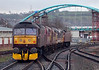 57601, 37685, 37706, 37717 & 47245 (nearest), 0Z57, Blackburn, 17 January 2008 - 1601    The 57 and 47 head away from the camera taking the ex-EWS 37s recently bought by WCRC from Healey Mills to their new home at Carnforth.
