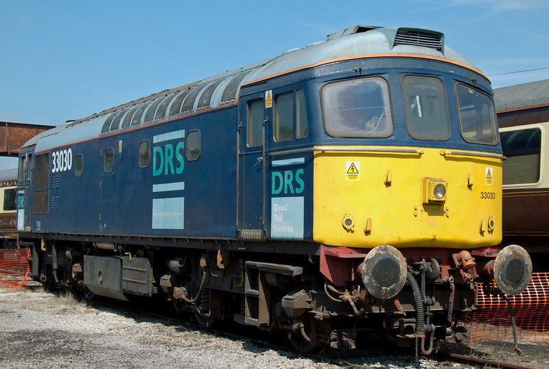 33030, Carnforth, 26 July 2008.   This loco used to work regularly for DRS with 33025, but has not found favour with WCRC so is still in DRS colours.