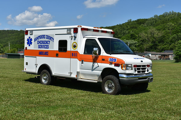"""Hampshire County, WV """"109"""", housed in Capon Bridge.  1997 Ford E 4wd/1998 Wheeled Coach with serial number 987007.  Ex- Capon Bridge Volunteer Rescue Squad."""