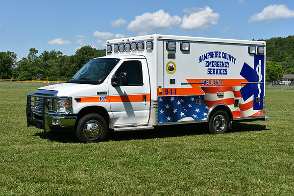 """""""107"""" from Hampshire County, West Virginia and housed at Station 10 in Capon Bridge.  2012 Ford E350/US Coach Works with serial number 13-001.  Ex- Capon Bridge Volunteer Rescue Squad."""