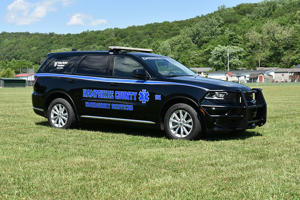 One of two identical EMS paramedic buggies for Hampshire County, West Virginia.  104 is a 2021 Dodge Durango.