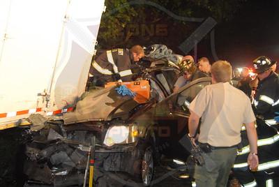 Westbury F.D. MVA w/ Entrapment Truck vs SUV Jericho Tpke. I/V/O Powells Ln. 9/28/11