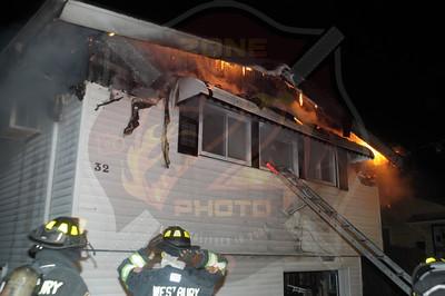 Westbury F.D. Working Fire 32 Third Ave. 1/8/15