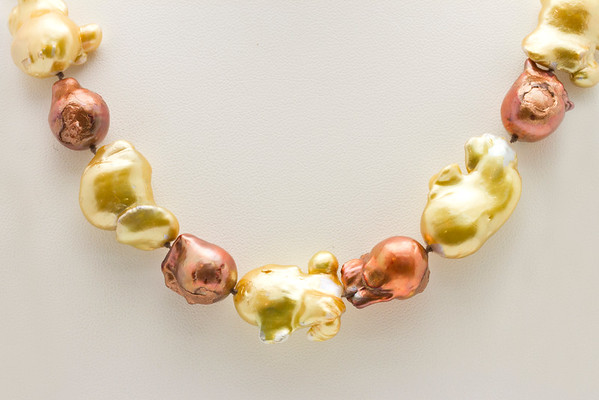 Necklace  Gold and Red Tone..