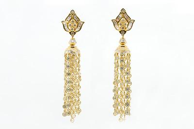 Gold Diamond Dangle Earrings.