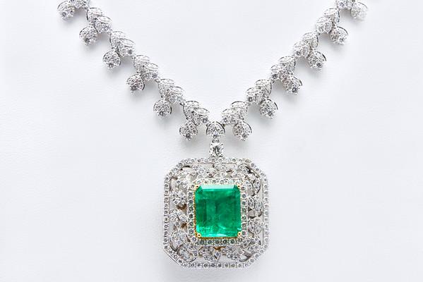 Emerald Stone/Diamond Necklace