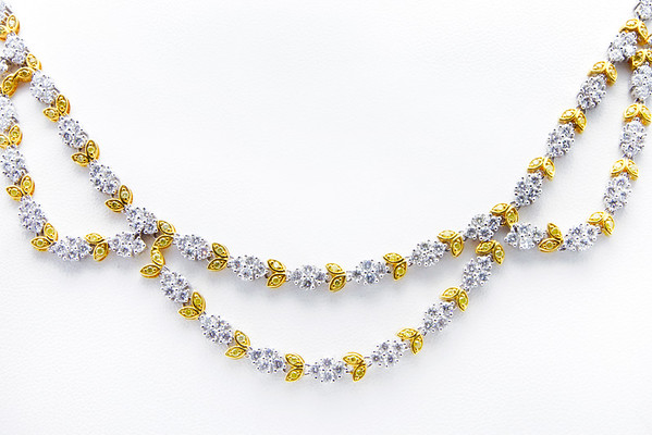 Diamond and Gold 2-strand Necklace.