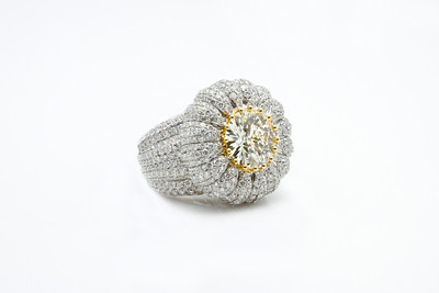 Diamond Ring with Gold Accents..