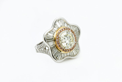 Diamond Ring w/Rose accents