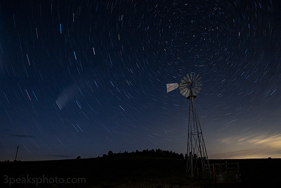 """This is a 16-minute exposure. NEOWISE is the """"star trail"""" with the fuzziness above and to the right."""