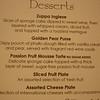 Dessert menu, night 1