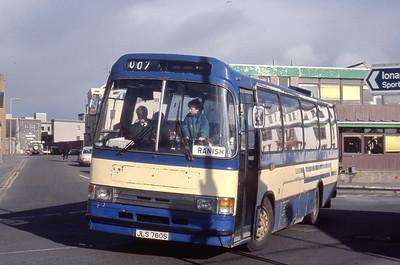 Lochs Motor Transport Leurbost JLS760S Stornoway Bus Station Mar 91