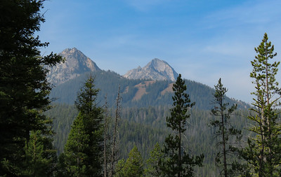 The trail climbs steadily up a long ridge, that affords only glimpses of the nearby peaks.  There was a lot of haze from wildfire smoke, but the closer you got to the peaks, the clearer they became.