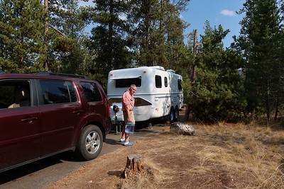 Sometimes you get lucky.  After driving 360 miles from Bozeman, we found a very nice first come/first served campsite in the Glacier View Campground near Redfish Lake. Hey, they even have flush toilets.