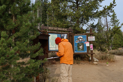 Roger signing in for a day hike.  Ultimately, when one crosses into the Sawtooth Wilderness, you have to fill out a permit as well.