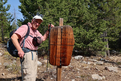 Eventually,the trail splits and the right fork crosses into the Wilderness.  Roger had backpacked in the Sawtooth Wilderness, south of here, 40 years ago.
