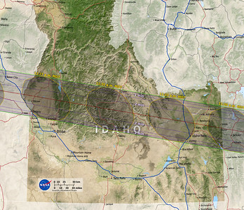 This map, courtesy of NASA, shows the envelope of totality for the eclipse in the state of Idaho, and why, if you live in Bozeman, MT (upper right in the photo), if you have the time, it is worth the normally-three-hour drive to at least Rexburg, ID, for the show.