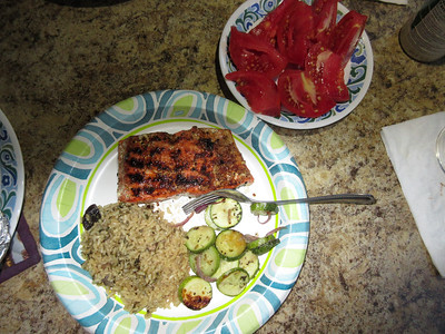For our friend Will, who is always taking photos of the food he eats.  This is not atypical camping fare for us:  Grilled Salmon, rice pilaf, some grilled zucchini and onions, etc.