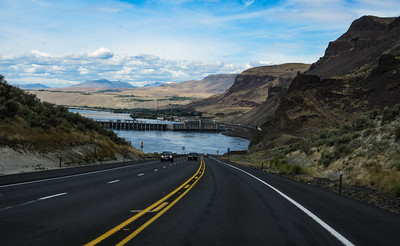 Our second day on the road was from Cheney, WA to outside of Leaveworth, WA.  The Rock Island dam comes into view.