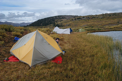 Much of the ground was boggy and/or too rough for tents, but we managed to find a thin strip of flat land.