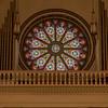 Rose Strain Glass Window in Santa Fe Cathedral, N.M.