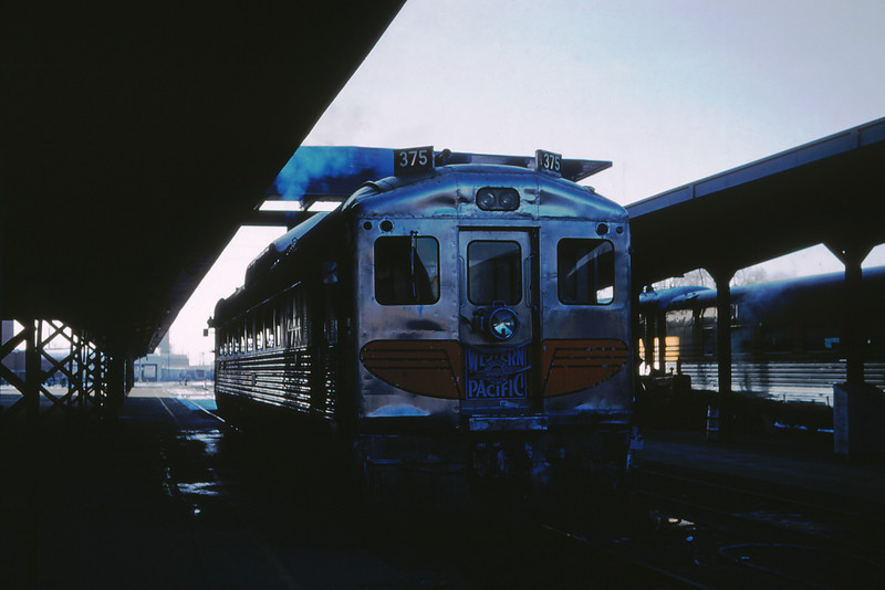 WPRR 2 - Jan 17 1960 - RPC No  375 'Zephyrette' leaving Depot Salt Lake City UT
