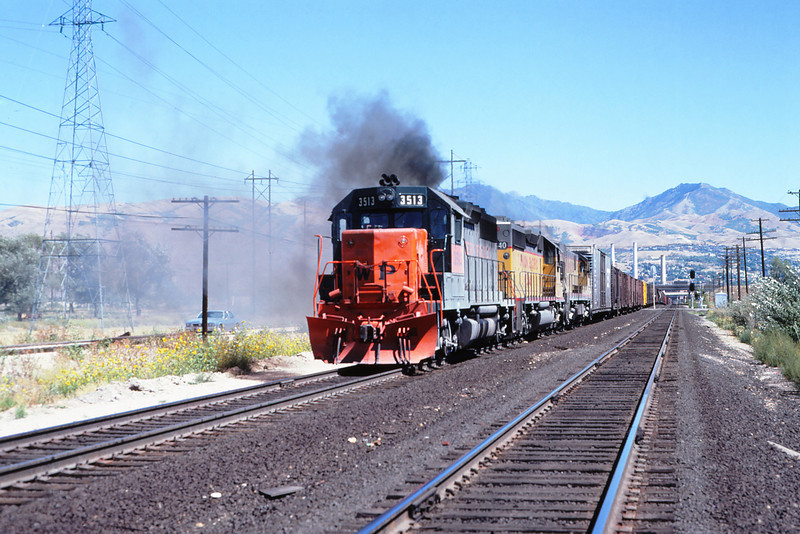 WPRR 65 - Sept 1979 - westbound train out of Salt Lake City UT