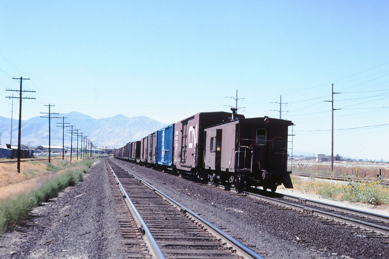 WPRR 67 - Sept 1979 - westbound train out of Salt Lake UT