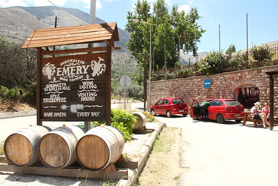 First stop: Emery Winery.  The winery is located in the village of Embonas, the wine capital of Rhodes, located near Mt. Attavyros (1215 m high).  They grow and make their own wine there -- all pure reds and whites, no blends.