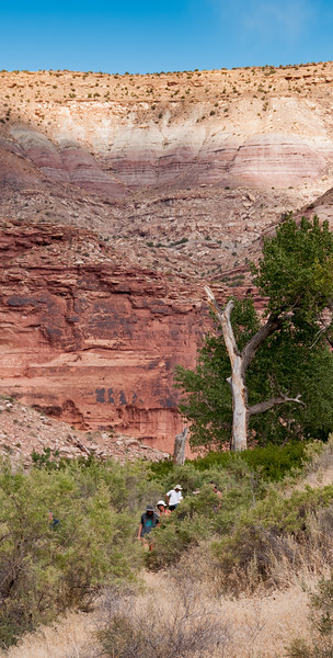 Hiking on a trail in Ruby Canyon.  The only access is from the Colorado River.