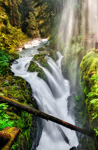 Sol Duc Falls in Olympic National Park, seen here from a bridge that crosses the river just below the falls.