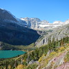 Grinnel Lake, Grinnel Falls, Gem and Salamander Glaciers.