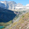 Grinnel Lake, Grinnel Falls, Gem Glacier top left, Salamander Glacier can be seen  almost completely on the top/right.