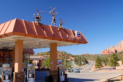 New Age Figures On a Gas Station Roof in Sedona, Arizona
