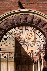 Iron Gate in Abandoned Brownstone Building, Jerome AZ