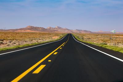 Two-lane Highway through the Arizona Desert, Navaho Nation Arizona