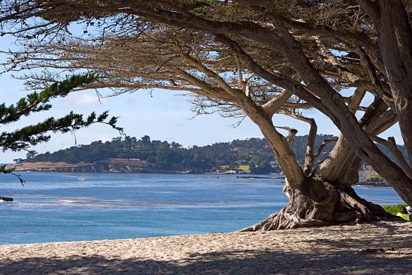 Carmel Bay and Pebble Beach, from Carmel Beach CA